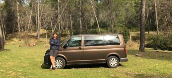 Alfonso and his van. It´s an 8 spots van, perfect for a fast drive to the surroundings of Malaga: Torcal de Antequera, Caminito del Rey, Saltillo, Frigiliana